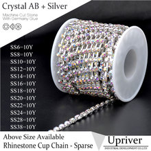 Upriver Shiny Strass 10yards/roll Silver Base Sparse Claw Crytstal AB Rhinestone Cup Chain For Necklaces Accessories