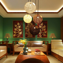 Asia Style Fashion Modern Colorful Wicker Pendant Lamp Hanging Lights Restaurant Cafe Library Bamboo Rattan LED Ball Free Ship
