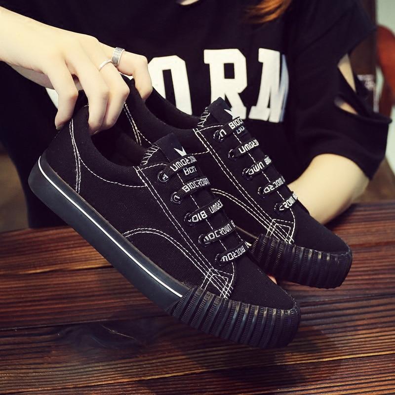 Spring Korean versatile canvas shoes female 2018 new students Harajuku cloth shoes casual black Hong Kong wind board shoes 26