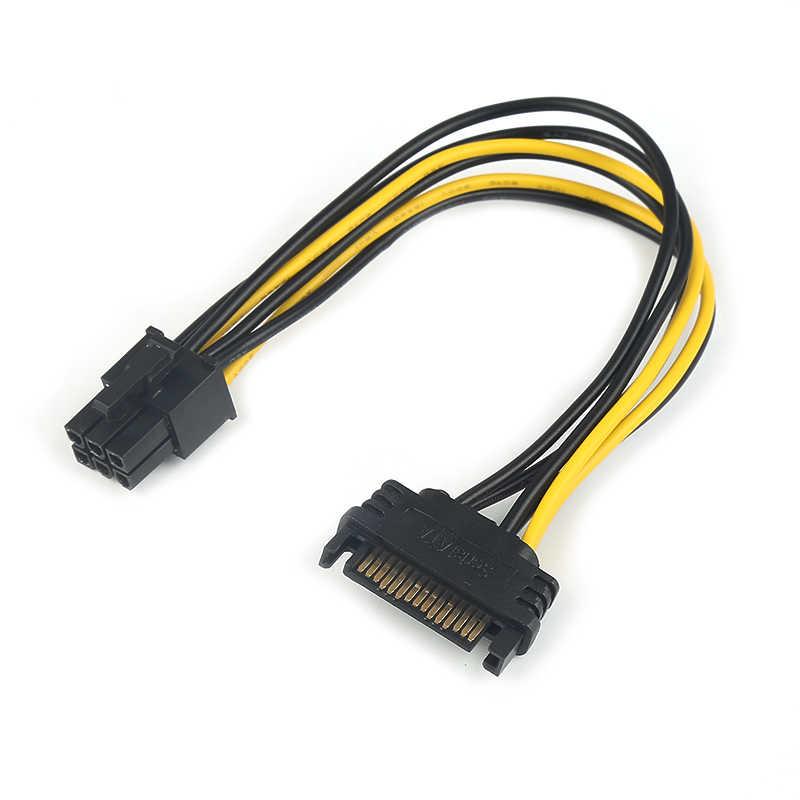 Adaptador de vídeo para fonte de alimentação, cabo de alimentação de vídeo de 20cm sata 15 pinos para 6 pinos pci, 1 peça cabo sata de cartão pci-e expresso