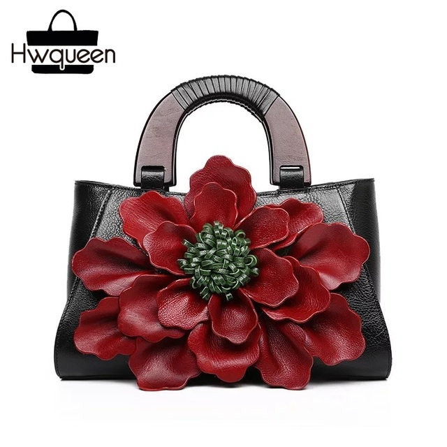 Chinese Style Vintage Large 3D Flower Designer Genuine Cow Leather Women Wooden Handle Purse Shoulder Bag Ladies Female Handbag