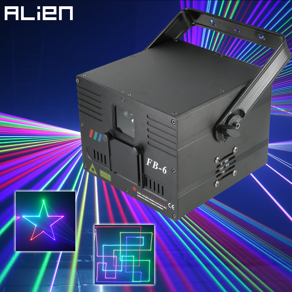 ALIEN 1W 2W DMX RGB Ilda Animation Laser Projector Scanner Professional Stage Lighting DJ Disco Bar Club Party Wedding Effect
