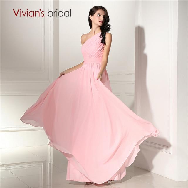 Long Chiffon Bridesmaid Dresses One Shoulder Pleat Pink Cheap ...