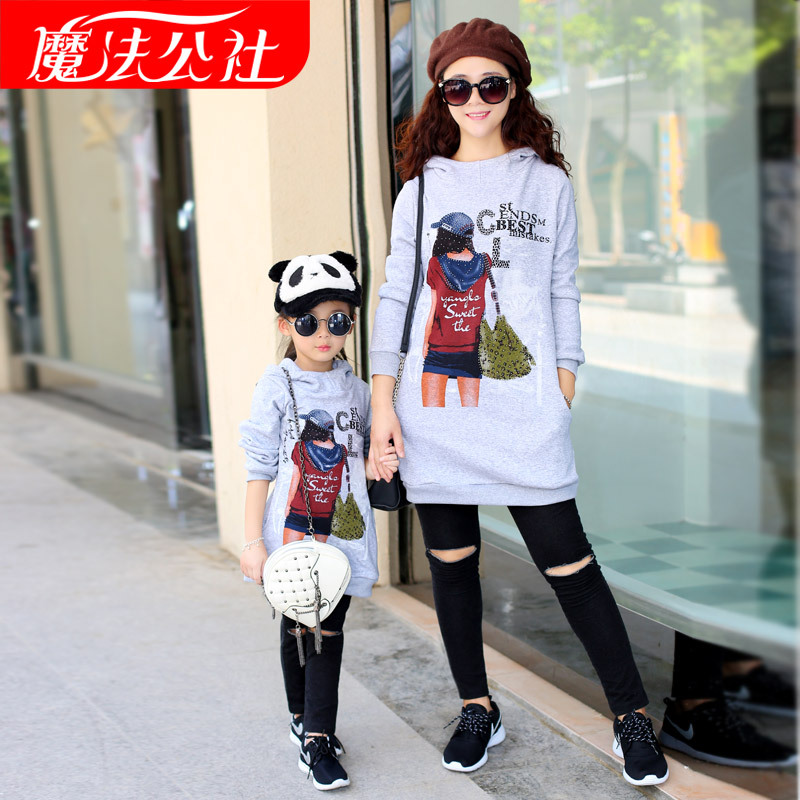 Matching Family Clothes Family Look Mother Daughter Gray Long Sleeve Sweaters Cartoon Long Clothes Autumn Style Family Outfit