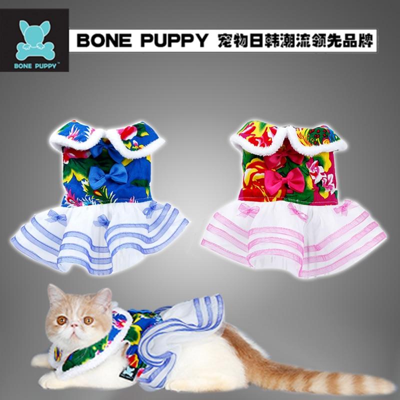 BONEPUPPY Čínský Design Festival Pet Dog Puppy Svatební šaty Oblečení