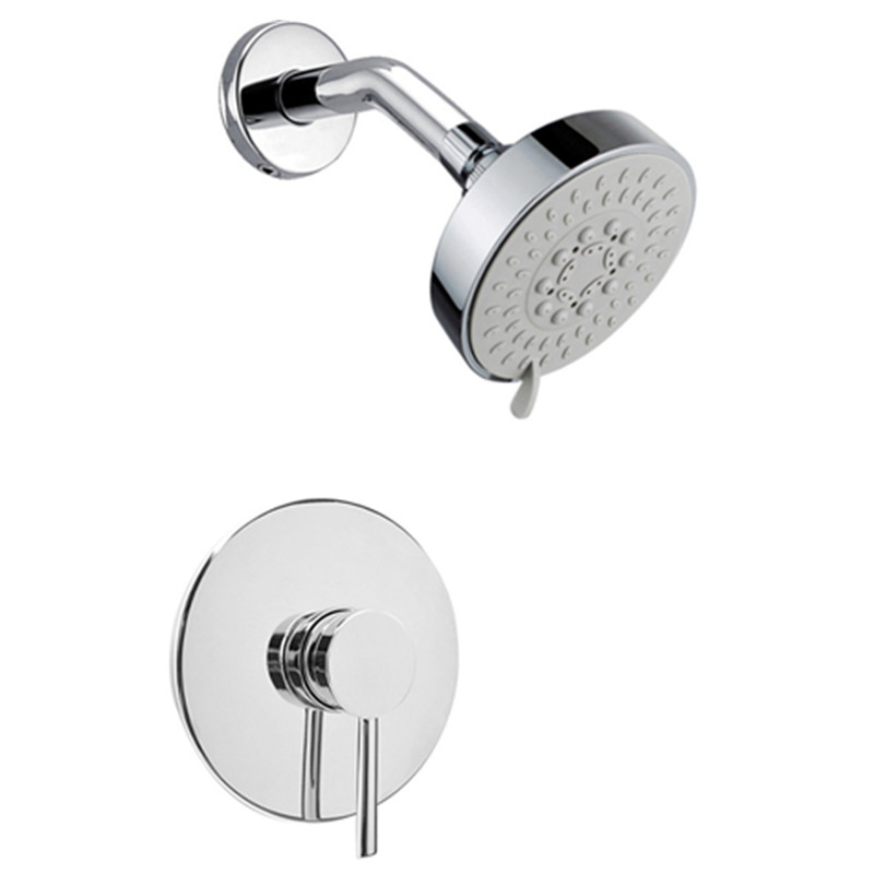 doccia Wall Mounted Rain Shower Faucet Set 4 Round Shower Head Bathroom Mixer Taps