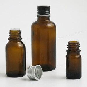 Image 3 - 200 x 5ml 10ml 15ml 20ml 30ml 50ml 100ml Amber Boston Round Glass Essential oil Bottle With Black Silver Lids PE insert