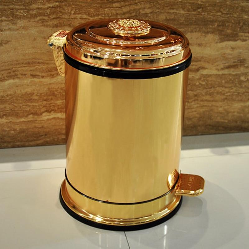 fashion 10 6 gold color garbage kitchen metal trash bins garbage cans with foot pedal garbage