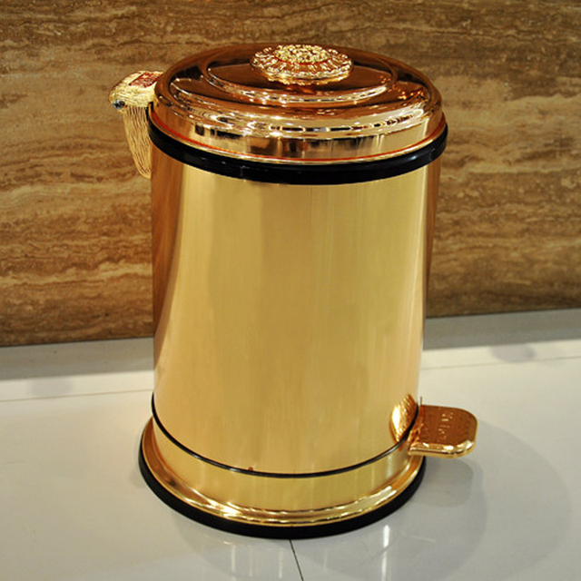 Fashion 10 6 Gold Color Garbage Kitchen Metal Trash Bins Cans With Foot Pedal