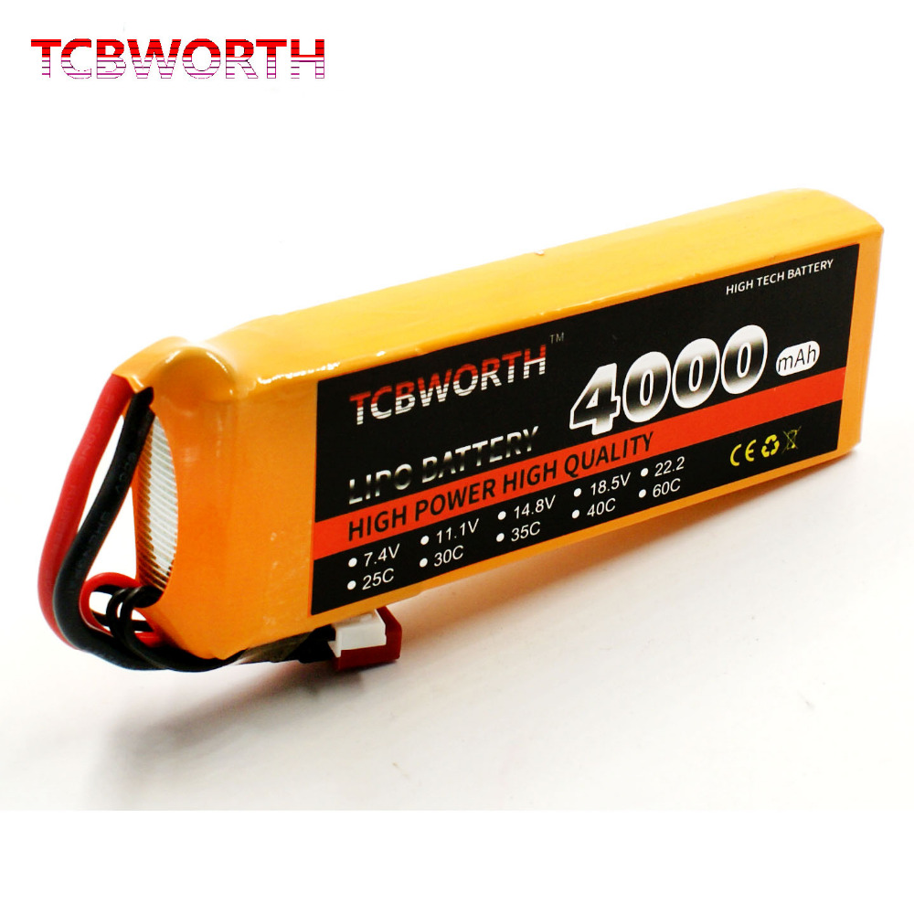 TCBWORTH 3S 11.1V 4000mAh 25C RC LiPo battery For RC Helicopter Quadrotor Airplane Car boat Truck Li-ion batteria tcbworth rc lipo airplane battery 2s 7 4v 4000mah 30c for rc helicopter quadrotor drone car boat truck li ion batteria