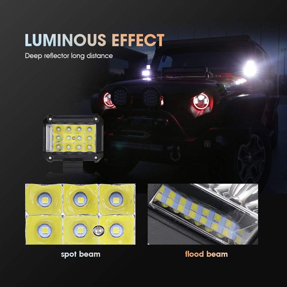 4 Inch Led Work Light Bar Side Luminous 57W Offroad 4x4 Flood Spot Combo Beam For Jeep Boat Truck Driving Light Lamp Fog Light in Light Bar Work Light from Automobiles Motorcycles