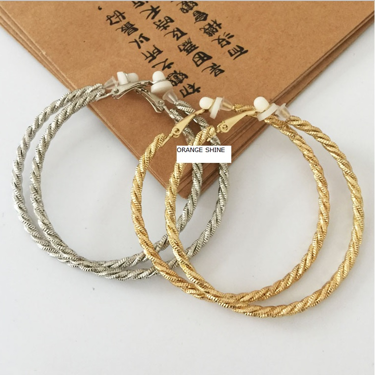 Fashion women without pierced earrings earing jewelry double ring twisted exaggerated big ear ring