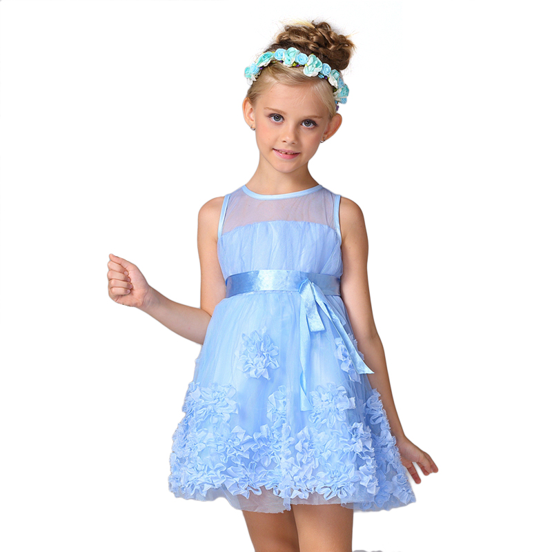 2017 Girls Party Princess Dresses Bow Tie Lace Flowers Dress Children Kids Beautiful Wedding Formal Girl Birthday Dresses