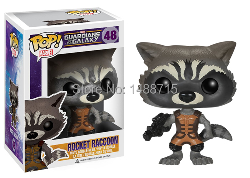 New Hot <font><b>Rocket</b></font> Raccoon Sci-Fi Film <font><b>Guardians</b></font> <font><b>of</b></font> <font><b>The</b></font> <font><b>Galaxy</b></font> Funko Marvel <font><b>POP</b></font> 48 <font><b>Vinyl</b></font> Bobble Head <font><b>Figure</b></font> Toys Box