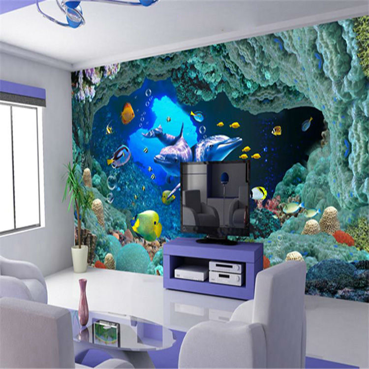 ... 3D Underwater World Wallpaper Custom Wall Mural Ocean Dolphin Photo  Wallpaper Bedroom Boys Childs Bedroom Living ...