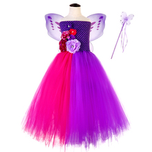 Cute Flower Girl Christmas Party Dresses Kids Tutu Dress Purple Solid Ankle Length Fairy Dresses for 12 Year Baby Girl Clothing bbwowlin pink baby girl dress for 0 6 years 1 year birthday christmas gift flower girl dresses 80100