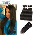 Mink Brazilian Virgin Hair With Closure 4 Bundles With Closure 7a Straight Human Hair With Closure Ali Moda Hair With Closure