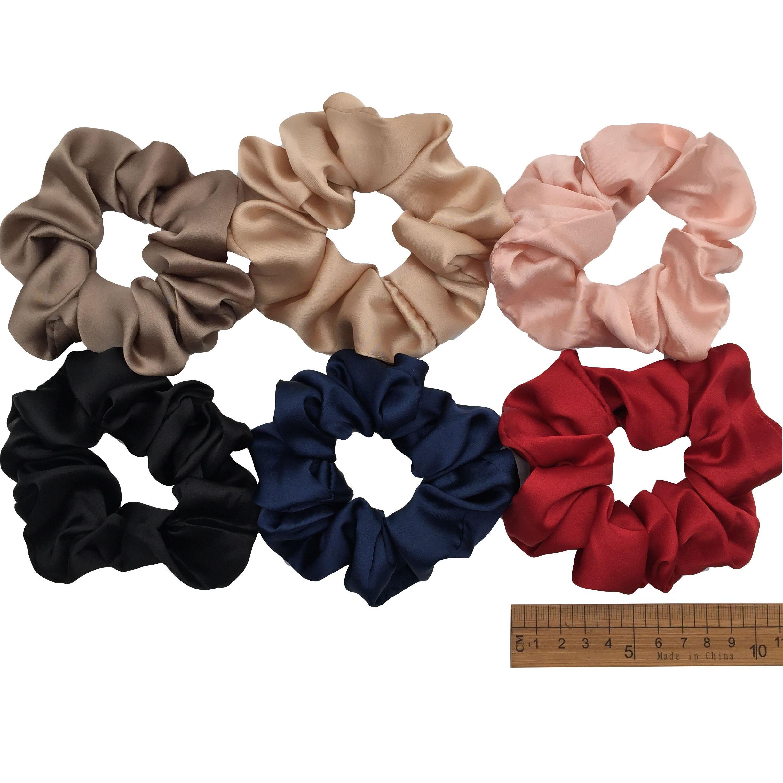 6 шт/лот Бархатные эластичные резинки для волос, резинки для волос для девочек, не складываются, леопардовые женские большие мелкие блестки из шифона с цветочным рисунком - Цвет: PJ011-A-6PCS