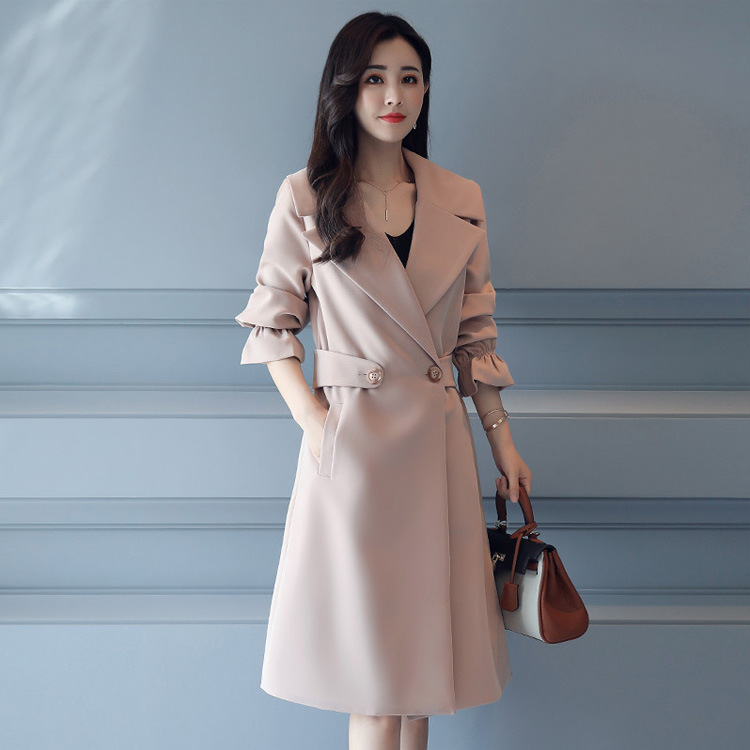 Flare Sleeve Women 2019 Fall Big Size   Trench   Coat Feminino High-end Temperament Coat M-4XL Plus Size Female Casual   Trench   XH950