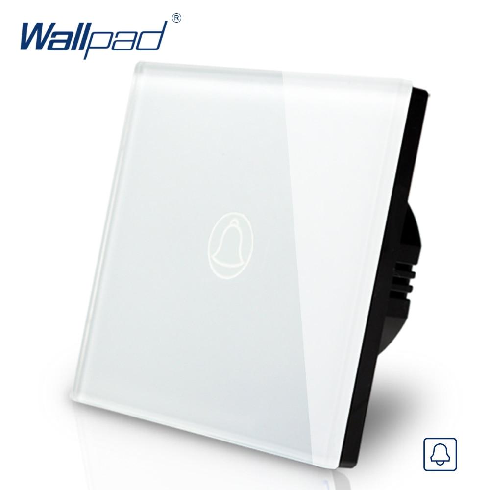 Wallpad EU UK Standard Touch Switch AC 110~250V Touch Doorbell White Black Gold Glass Panel Wall Light Switch