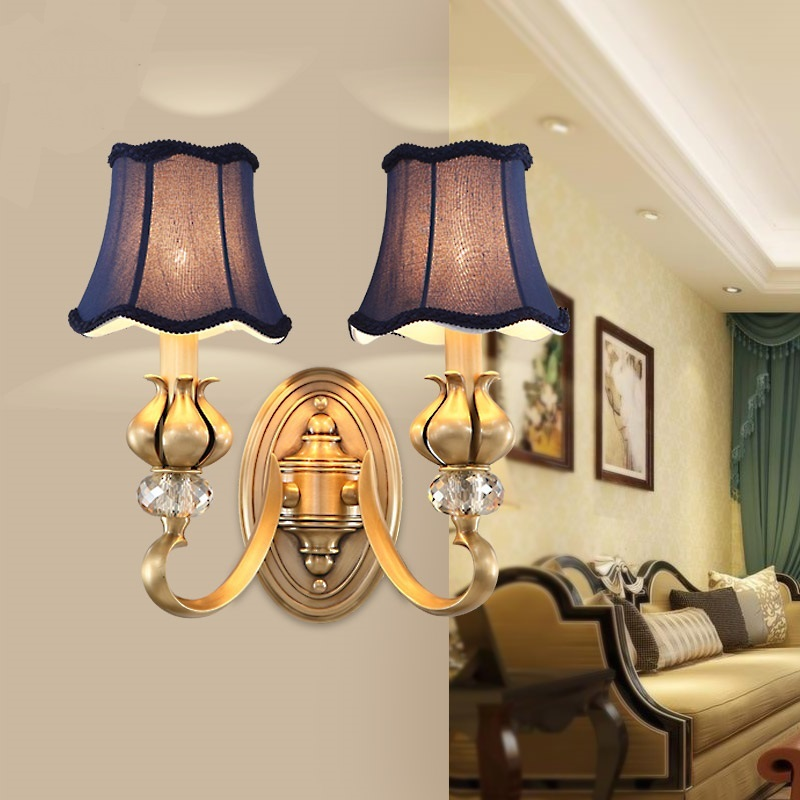 Three American style all copper art lamp Wall Lamps European corridor living room background bedroom LU809180