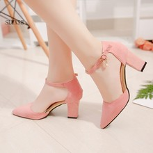 SLYXSH 2018 HOT Women Shoes Pointed Toe Pumps Suede Leisure Dress Shoes High Heels Boat Wedding shoes(China)