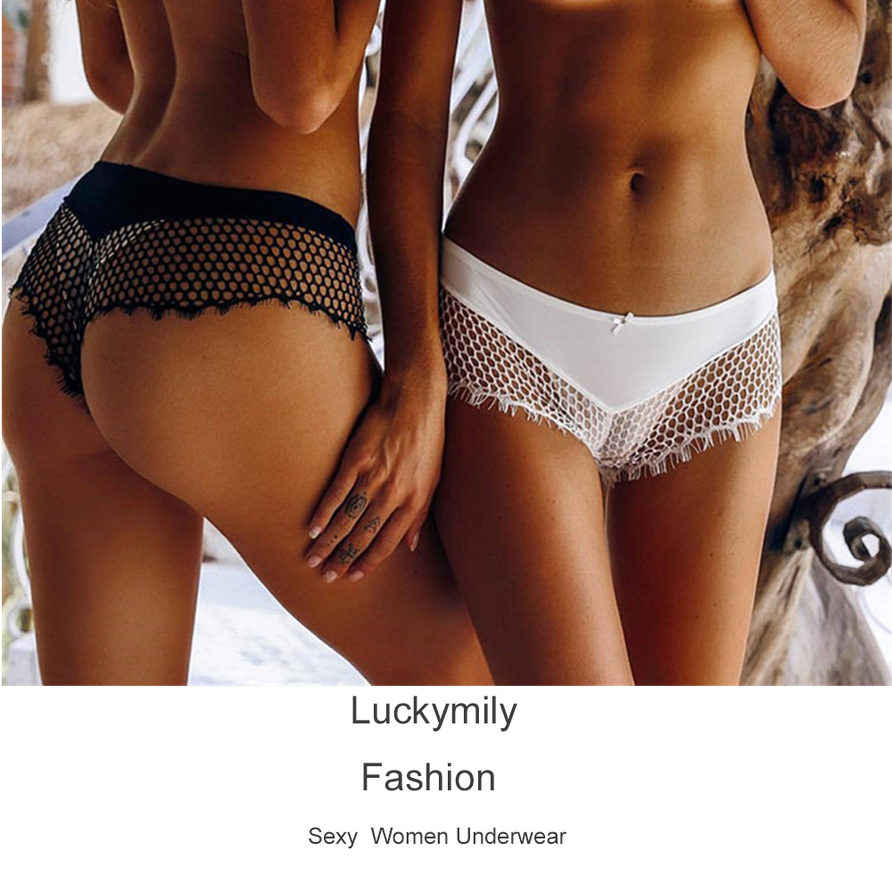 Luckymily 2018 New Arrival Women Low Waist Transparent Underwear Sexy Lace Floral Thong Hollow Out   Panty   For Ladies Lingerie