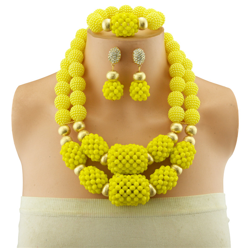 Wholesale Yellow African Beads Crystal Jewelry Set Fashion Wedding Women Dubai Copper Beads Jewelry Sets Gold-color Necklace EarWholesale Yellow African Beads Crystal Jewelry Set Fashion Wedding Women Dubai Copper Beads Jewelry Sets Gold-color Necklace Ear