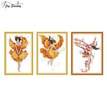 Joy Sunday Chinese Cross Stitch Kits Fairy Patterns Aida Fabric 14ct Printed Canvas DMC DIY Embroidery Kit Needlework Home Decor