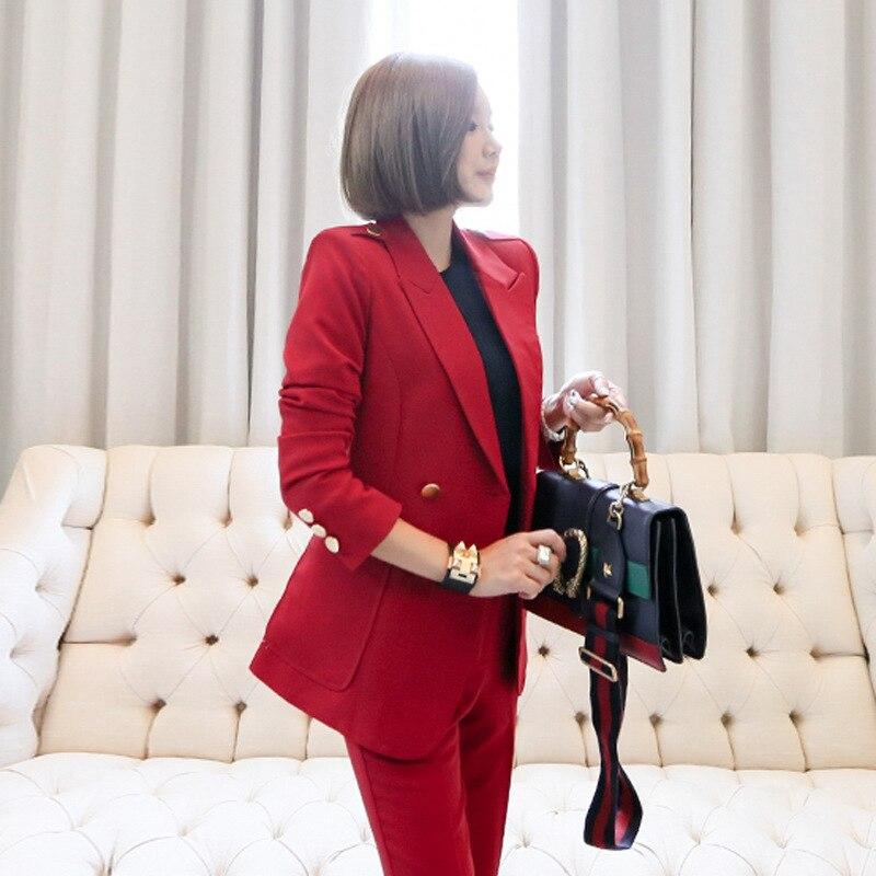 breasted 2 Pleine Red Travail Double Blazers Longueur Manteau Ol Pièce Costume Ensemble 2018 Femmes Nouveau Automne Pantalon vHf6qfp