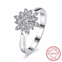 925 Sterling Silver Lotus Flowers Rings For Women Vintage Style Lady High Quality Sterling Silver Jewelry