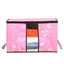 High Quality  Foldable Flower Printed Quilt Sorting Anti-bacterial Clothing Organizer Storage Box