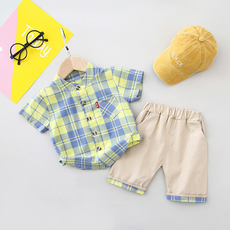 Boys Clothes Turn-down Collar Shirt Shorts Set for Baby Children Casual Sport Suit Plaid Top Cute Little Boys Summer Sets 3