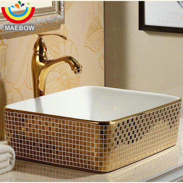 Mosaic Gold Artistic Countertop Rectangular Ceramic ...