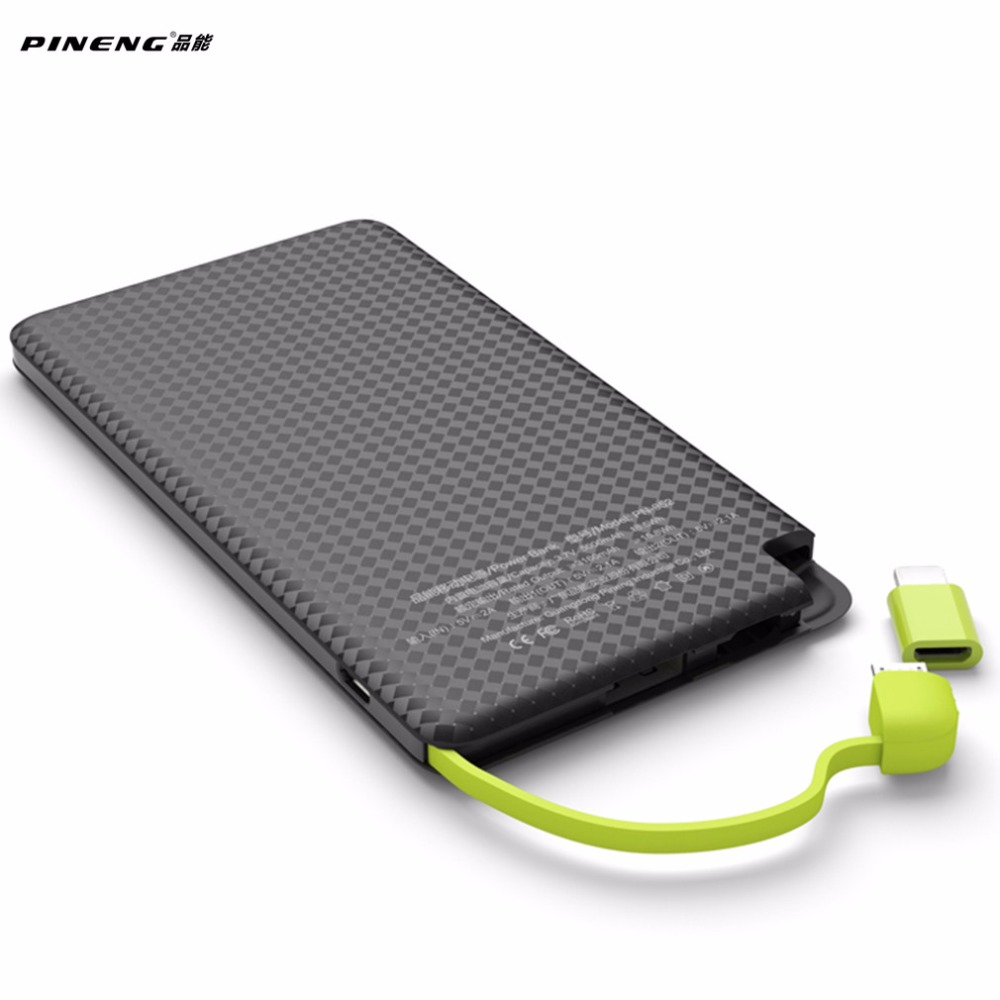 5000mAh PINENG Mobile Phone Power Bank Fast Charging External Battery Portable Charger Li polymer Battery For