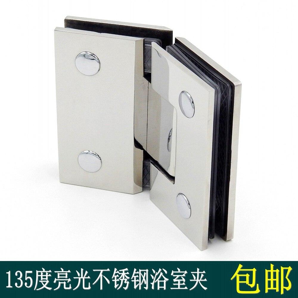 135 Degree Light Stainless Steel Bathroom Clip Frameless Glass