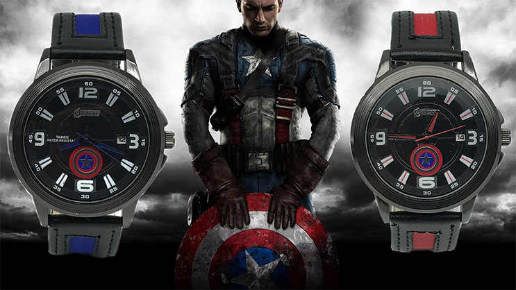 Caliente superhéroe Capitán América los Vengadores alianza impermeable calendario cinturón hombre cuero militar impermeable reloj Relogio Mascu
