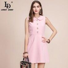 · vestido ファッション滑走路サマードレス女性のノースリーブゴージャスな花ボタン固体エレガントピンクショートドレス リンダ