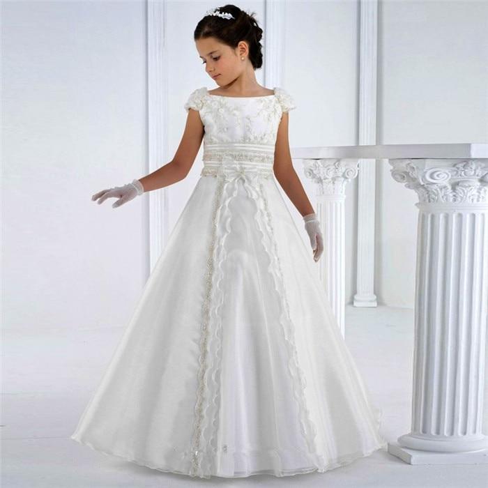 white first communion   dresses   floor length princess   flower     girl     dresses   pageant gown vestidos de communion custom made size