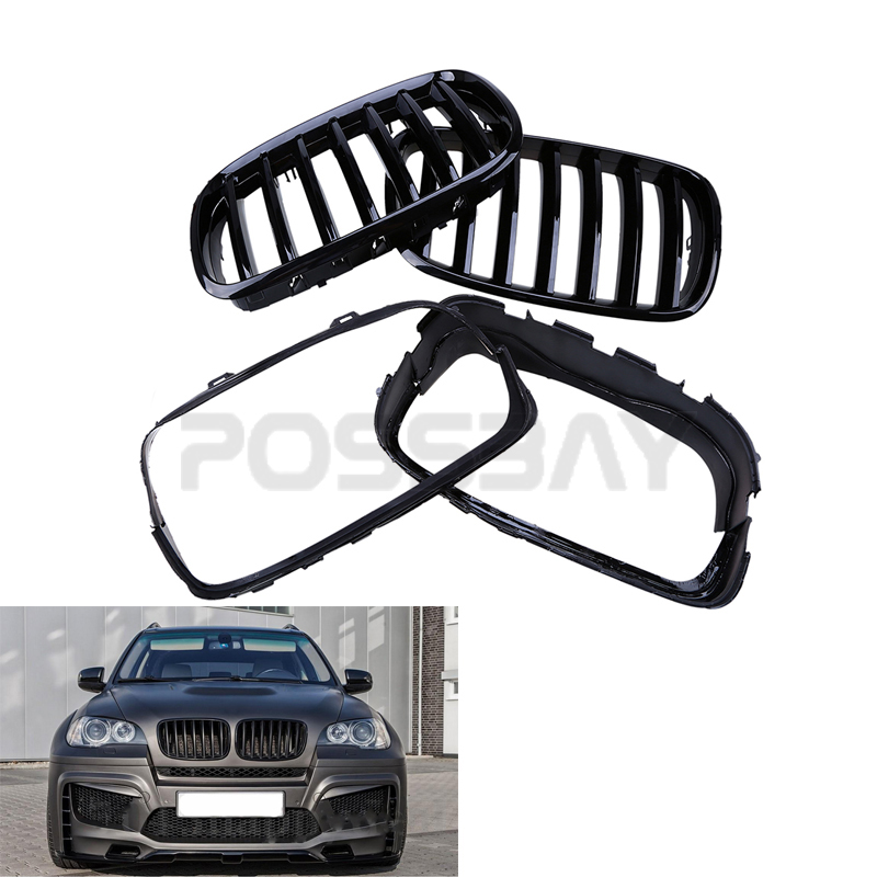 shiny front painting gloss black car auto kidney grille grill for bmw x6 hybrid e72