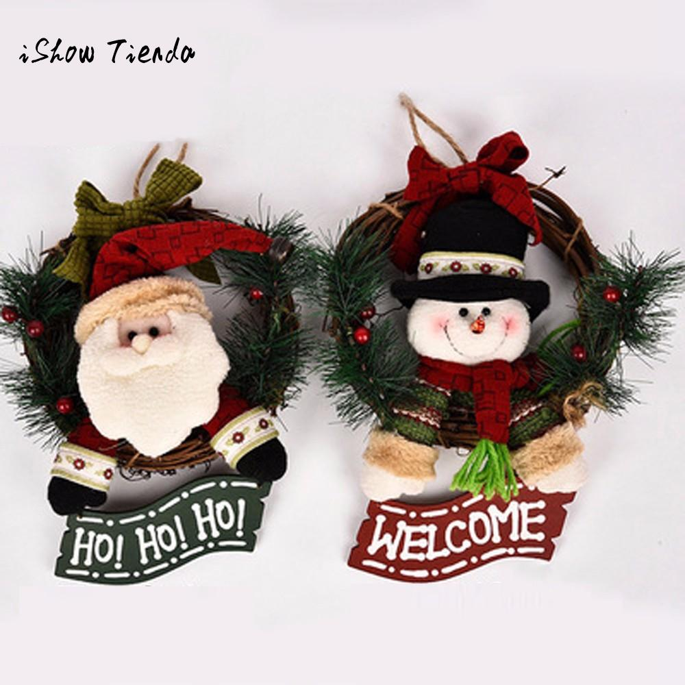 discount christmas decorations for home party poinsettia pine wreath door wall garland natale decorazioni festive supplies