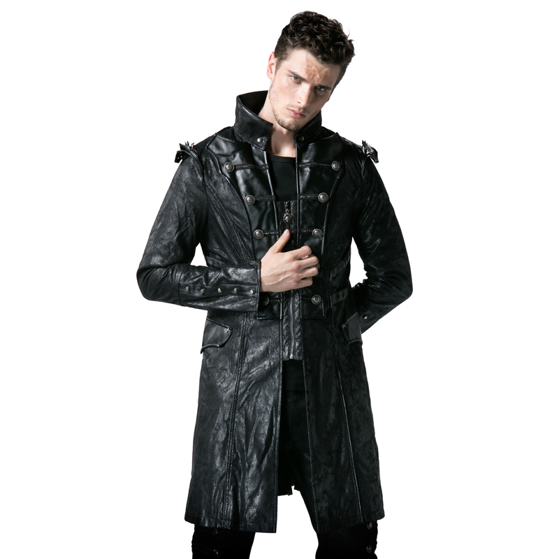 Punk Rave Steampunk Gothic Stand Collar Men Jacket and Coats Casual Punk Rock Faux Leather Coat Men's Army Uniform Long Jackets