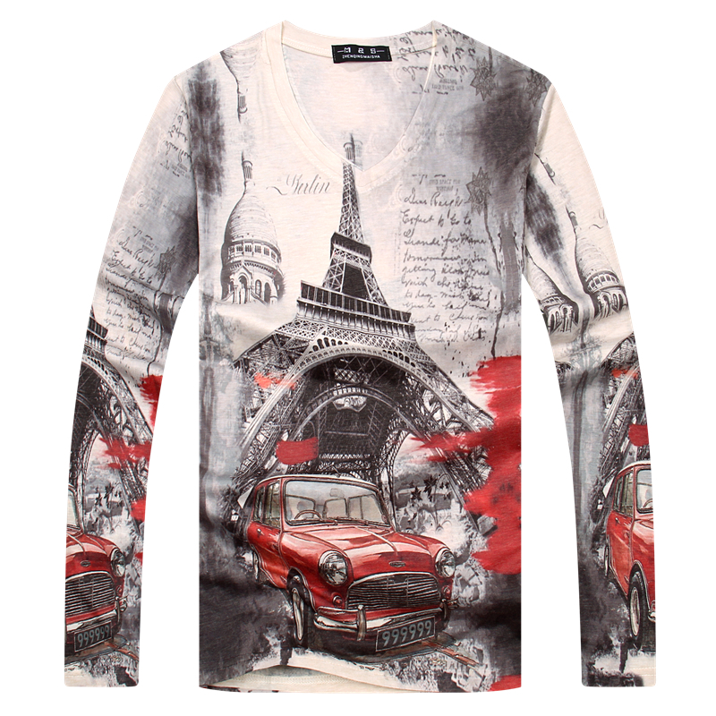 Online Shop 2015 New Punk T-shirt Men Brand Cotton full Sleeve V ...