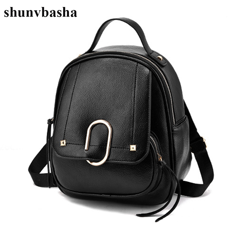 Luxury Brand Leather Backpacks For Teenage Girls Fashion Designer Women School Bags Top-handle Backpack Mochila Escolar Female plaid trim tunic top