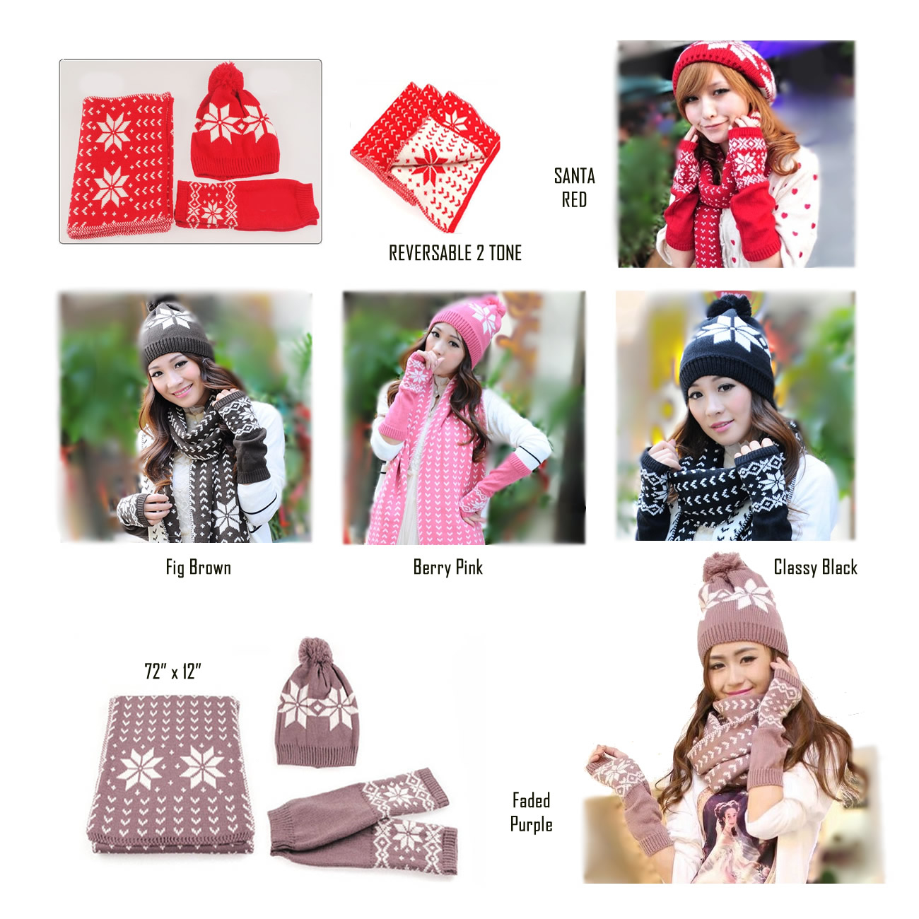 Snow Angel 3 pc XMas Set of Scarf, Hat And Gloves In 2 Tones (1)