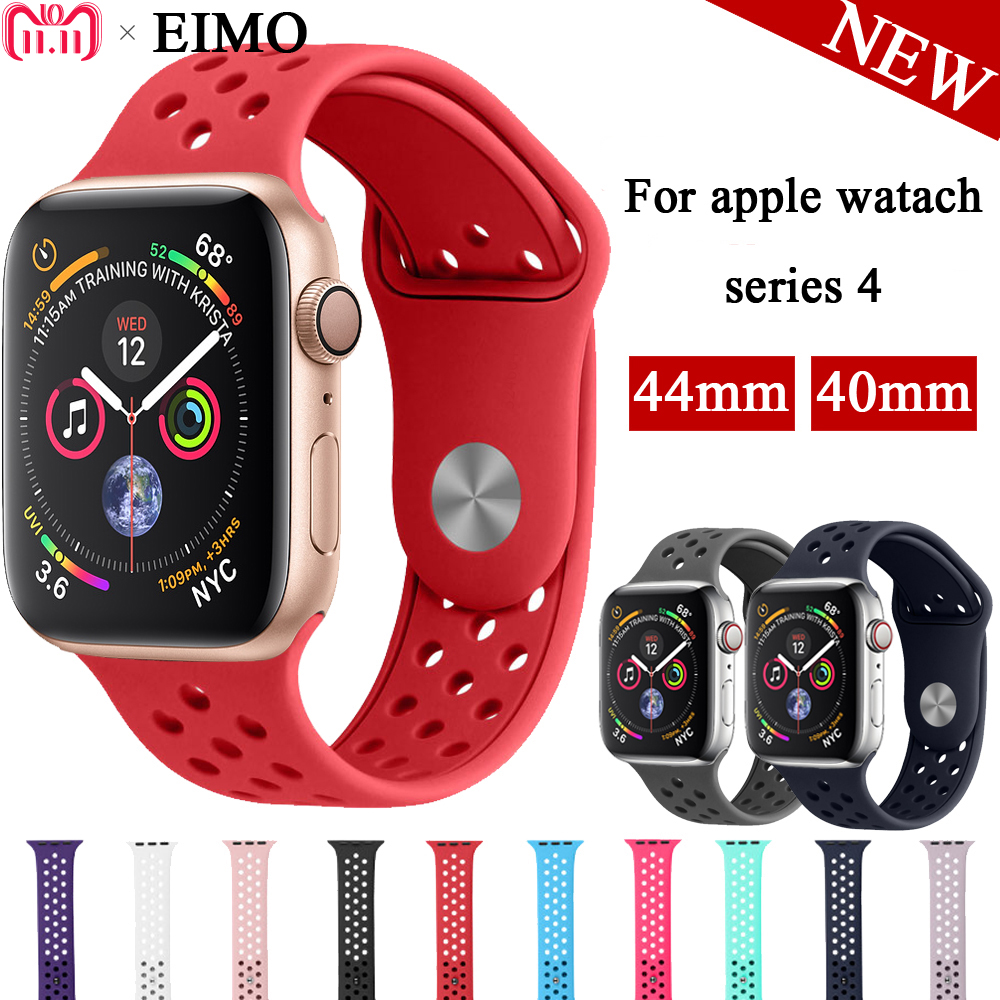 dbede9aafb7 EIMO Strap for Apple Watch 4 42mm 44mm Iwatch band 42mm 38mm Aple watch 4 3  2 1 Sport band Silicone Wrist Bracelet Watchband