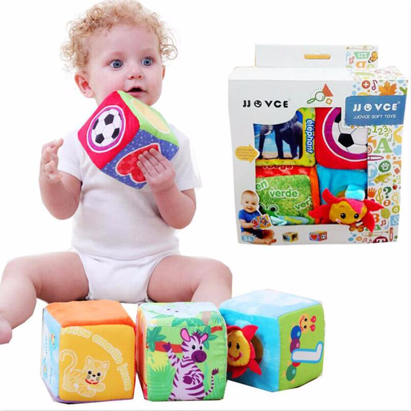 Cartoon Design Cloth Building Blocks Stuffed Doll Newborn Child Soft Plush Cubes Educational Baby Toy 0-12 Months