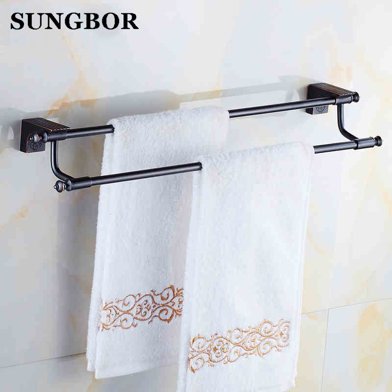 High Quality Bathroom Accessories Oil Rubbed Bronze Bath Double Towel Bars Towel Hanger Wall Mount Black Towel Holder BJ-81911