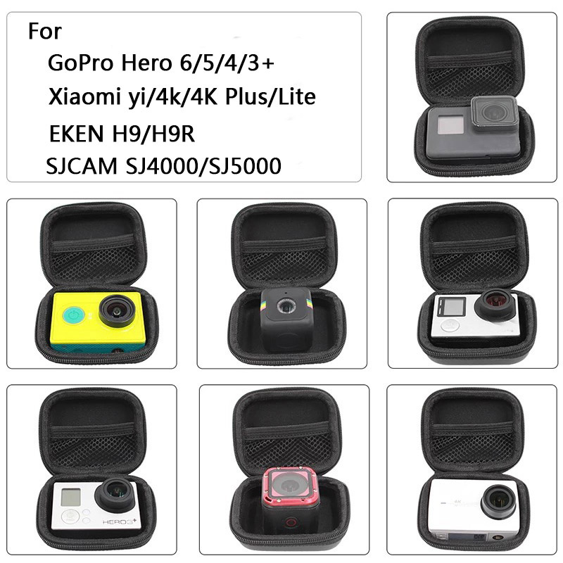 Portable Mini Box Xiaoyi Bag Sport Camera waterproof Case For Xiaomi Yi 4K Gopro Hero 8 7 6 5 4 SJCAM Sj4000 EKEN H9 Accessories