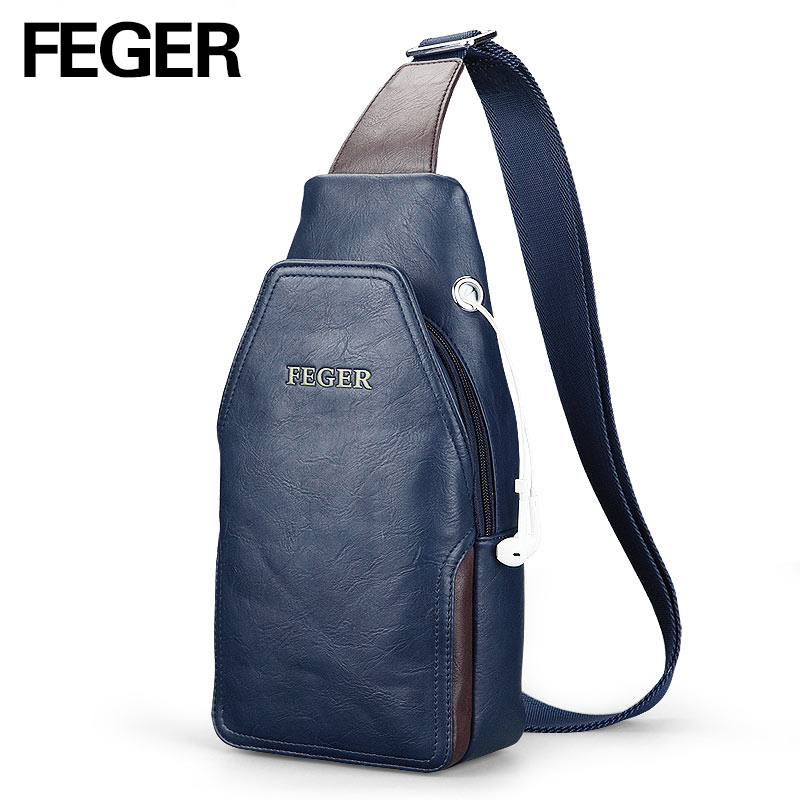 FEGER  Good Selling Men Messenger Bags Casual PU Crossbody Bag Chest Pack Bag Solid Sling Bag with Earphone Hole casual canvas satchel men sling bag